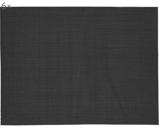 Tischsets Mabra, 6 Stück, Kunststoff (PVC), Schwarz, 30 x 40 cm