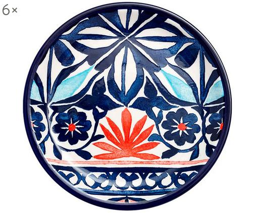 Frühstücksteller Fiesta, 6 Stück, New Bone China, Rot, Blautöne, Weiß, Ø 21 cm