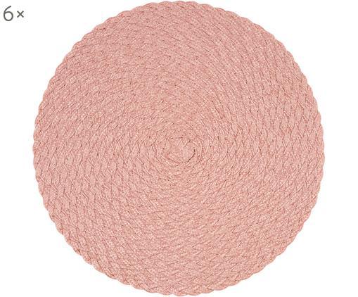Tovaglietta americana in plastica rotonda Avon 6 pz, Polipropilene, Rosa chiaro, Ø 38 cm