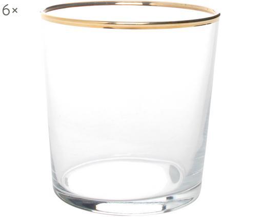 Verres à eau avec bordure dorée Elegance, 6pièces, Transparent