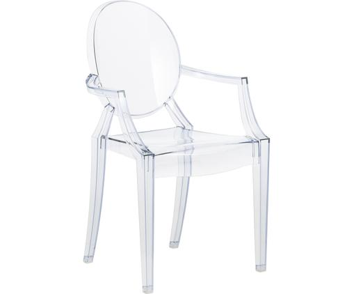 Chaise à accoudoirs Louis Ghost, Bleu, transparent