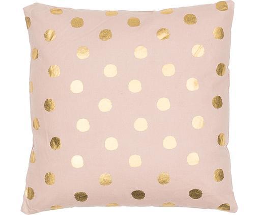 Rosa Kissen Dots mit goldenen Punkten, mit Inlett, Rosa, Goldfarben, 45 x 45 cm