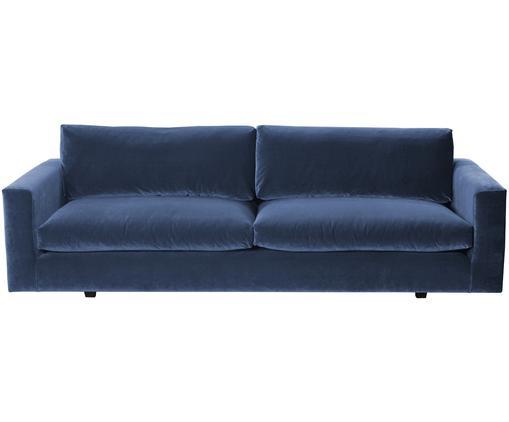Samt-Sofa Balmira (3-Sitzer), Bezug: Blau Beine: Schwarz