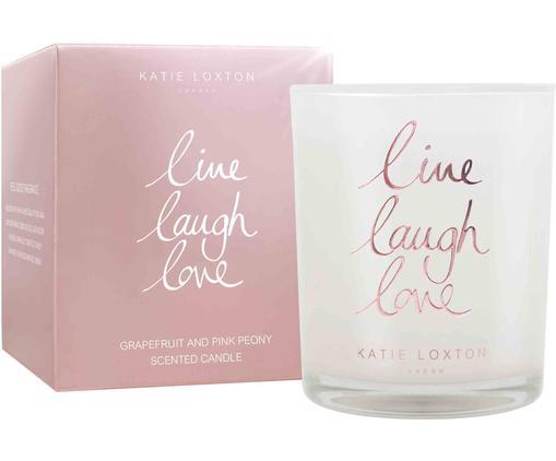 Świeca zapachowa Live Laugh Love (grejpfrut i piwonia), Biały, różowy, Ø 8 x W 10 cm