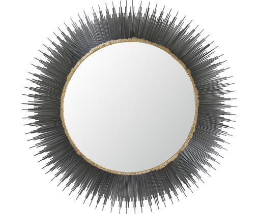 Runder Wandspiegel Pencil mit schwarzem Rahmen, Rahmen: Metall, Spiegelfläche: Spiegelglas, Dunkelgrau, Goldfarben, Ø 89 cm
