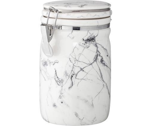 Aufbewahrungsdose White Marble, Behälter: Porzellan, Verschluss: Edelstahl, Silikon, Weiß, Schwarz, marmoriert, Ø 10 x H 17 cm
