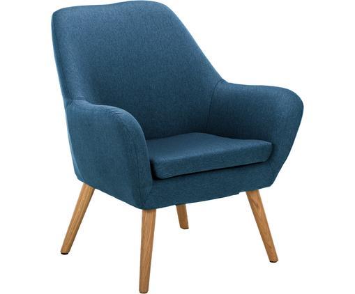 Sessel Astro in Blau, Bezug: Polyester, Beine: Eichenholz, geölt, Dunkelblau, B 76 x T 74 cm