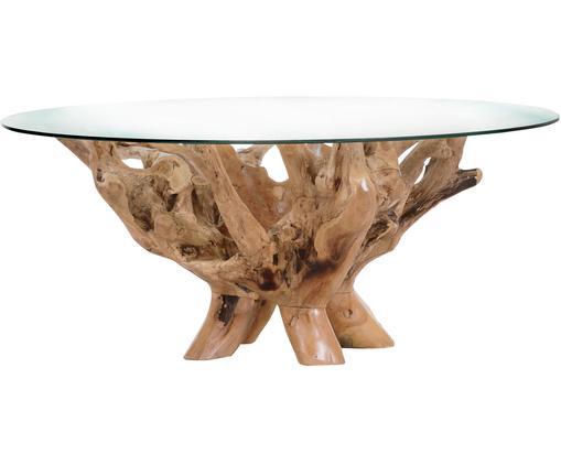 Massivholz-Couchtisch Rio mit Glasplatte, Beine: Recyceltes Teakholz, Tischplatte: Glas, Teakholz, Transparent, Ø 110 x H 46 cm