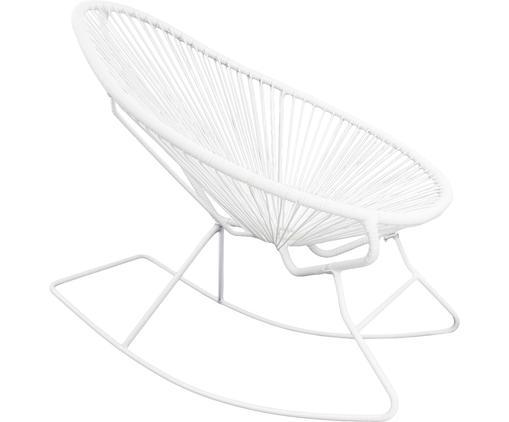 Fotel bujany Grace, Stelaż: metal malowany proszkowo, Stelaż: biały Splot: biały, S 80 x W 83 cm
