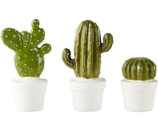 Komplet kaktusów dekoracyjnych Desert, 3 elem., Biały, zielony