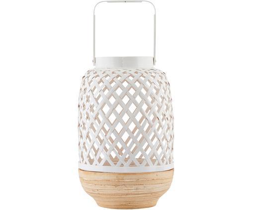Świecznik Breeze, Stelaż: biały, bambus Szklana wkładka: transparentny