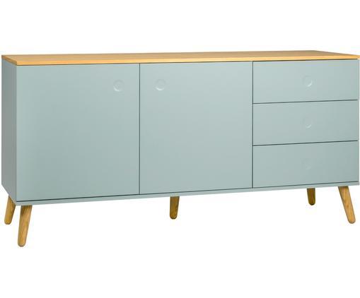 Sideboard Dot im Skandi Design, Korpus und Fronten: Pastellgrün Schrankoberfläche und Füße: Eichenholz