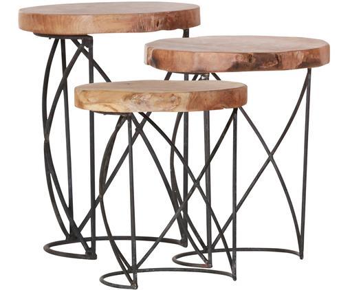 Beistelltisch-Set Lina, 3-tlg., Tischplatte: Recyceltes Teakholz, mass, Beine: Metall, lackiert, Braun, SChwarz, Sondergrößen