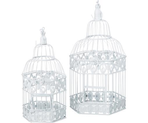 Set gabbie per uccelli da decorazione Gerda, 2 pz., Ferro verniciato, Bianco, Diverse dimensioni