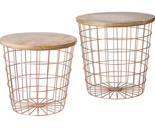 Stolik-taca Settle, 2 elem., Metal, drewno naturalne, Odcienie miedzi, brązowy, Różne rozmiary