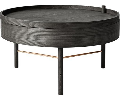 Couchtisch Turning Table mit Stauraum, Eschenholz, Eschenholzfurnier, Schwarz, Eschenholz, Ø 65 x H 36 cm