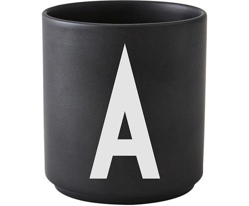 Taza Personal (variantes de A a Z), Porcelana fina, Negro mate, blanco, Ø 8 x Al 9 cm