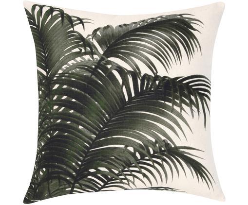 Kissenhülle Palmeira mit Palmenprint, Baumwolle, Ecru, Grün, 40 x 40 cm