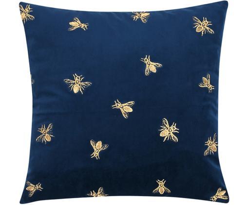 Funda de cojín bordada de terciopelo Nora, Terciopelo de poliéster, Azul marino, An 45 x L 45 cm