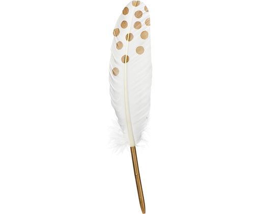 Schreibfeder Punkte, Echte Feder, Metall, Weiß, Goldfarben, 2 x 28 cm