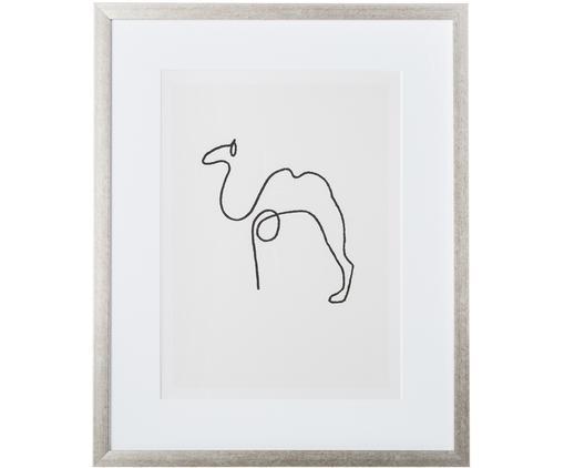 Stampa digitale incorniciata Picasso's Camel, Immagine: nero, bianco Cornice: argentato