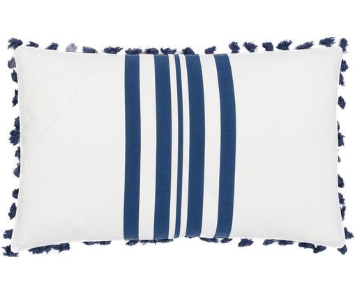 Kissenhülle Guetary mit Batik Streifen und kleinen Quasten, 50% Baumwolle, 50% Polyester, Navyblau, Weiß, 30 x 50 cm