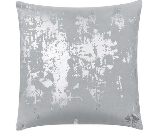 Samt-Kissenhülle Shiny mit schimmerndem Vintage Muster, Baumwollsamt, Hellgrau, Silberfarben, 40 x 40 cm