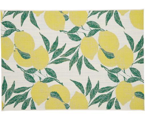 Tapis outdoor imprimé citron Limonia, Blanc, jaune, vert