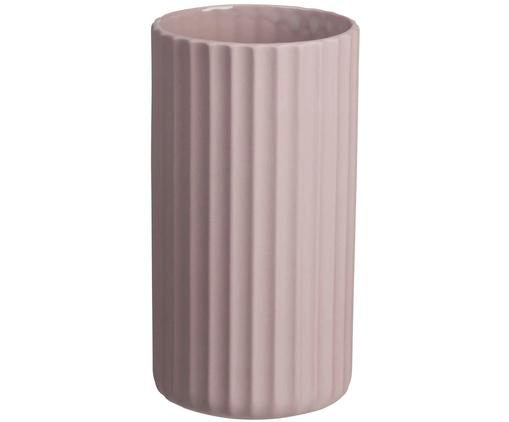 Vaso fatto a mano Yoko, Porcellana, Rosa, Ø 9 x Alt. 16 cm