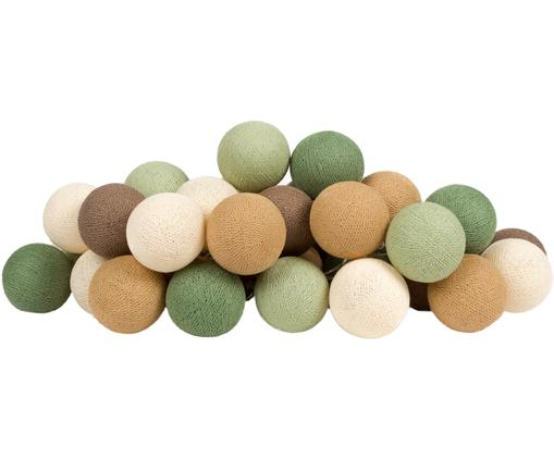 LED Lichterkette Colorain, Lampions: Polyester, Grüntöne, Brauntöne, Weiß, L 264 cm