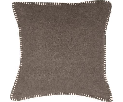 Weiche Fleece-Kissenhülle Sylt mit Steppnaht, 85% Baumwolle, 8% Viskose, 7% Polyacryl, Dunkelbraun, 40 x 40 cm