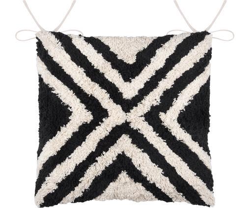 Boho Sitzkissen Burundi in Schwarz/Weiß, Baumwolle, Creme, Schwarz, 40 x 40 cm