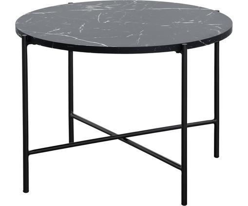Mesa de centro Fria, Tablero: fibras de densidad media , Estructura: metal con pintura en polv, Mármol negro, negro mate, Ø 60 x Al 43 cm