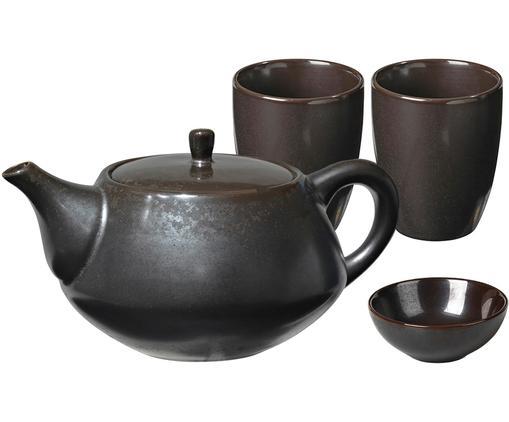 Servizio da tè fatto a mano Esrum Night, 4 pz., Terracotta smaltata, Grigio, marrone, Diverse dimensioni