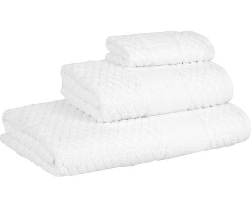 Set 3 asciugamani con motivo a nido d'ape Katharina, Bianco, Diverse dimensioni