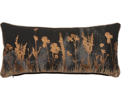 Kissen Wild Floral mit glänzendem Blumenmuster, mit Inlett, Bezug: Baumwolle, Schwarz, Anthrazit, Kupferfarben, 30 x 65 cm