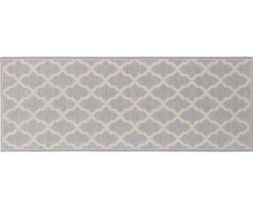 In- und Outdoorläufer Heaven in geknüpfter Makramee-Optik, Silbergrau, Creme, 76 x 200 cm