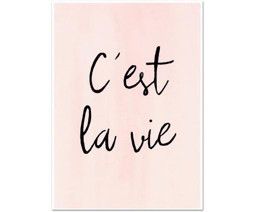 Poster C'est La Vie, Stampa digitale su carta, 200 g/m², Rosa, nero, Larg. 21 x Alt. 30 cm