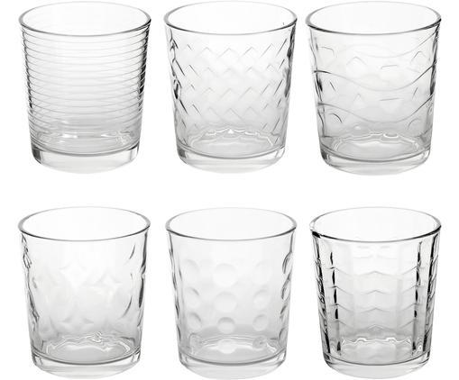 Ensemble de verres à eau transparents à structure différente, 6 élém., Transparent