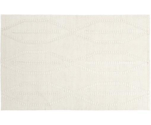 Tappeto in lana tessuto a mano William, Vello: 60% lana, 40% cotone, Retro: 100% cotone, Crema, Larg. 120 x Lung. 180 cm (taglia S)