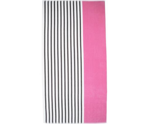 Bardzo długi ręcznik plażowy Esma, 100% bawełna, średnia gramatura, 420g/m², Różowy, ciemny szary, kremowobiały, S 100 x D 200 cm