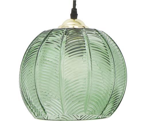 Lampada a sospensione in vetro Luisa, Paralume: vetro, Baldacchino: metallo verniciato, Verde, Ø 22 x Alt. 20 cm