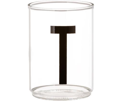 Vasos con letra Personal (variantes de A a Z), Vidrio de borosilicato, Transparente, negro, Vaso T