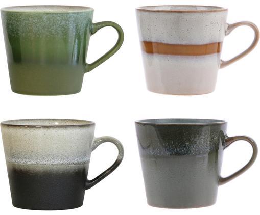 Handgefertigtes Tassen-Set 70's, 4-tlg., Keramik, Grün, Grau, Beige, Ø 12 x H 9 cm