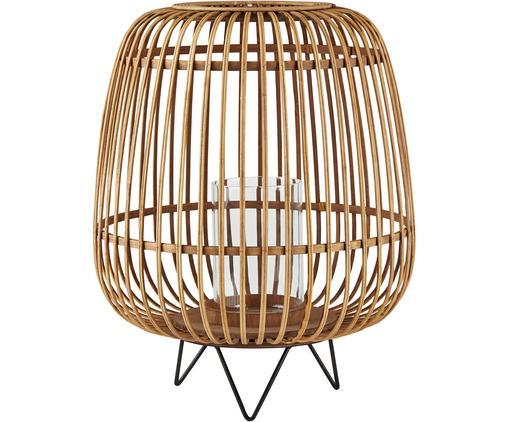 Świecznik Hanne, Stelaż: drewno bambusowe, Nogi: metal, Bambus, transparentny, czarny, Ø 36 x W 45 cm