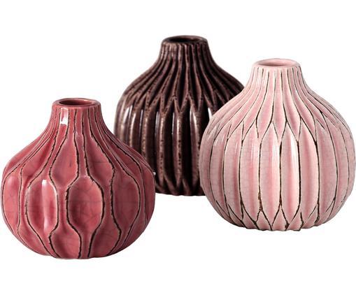 Kleines Vasen-Set Lenja aus Steingut, 3-tlg., Steingut, Rosa, Koralle, Braun, Ø 11 x H 11 cm