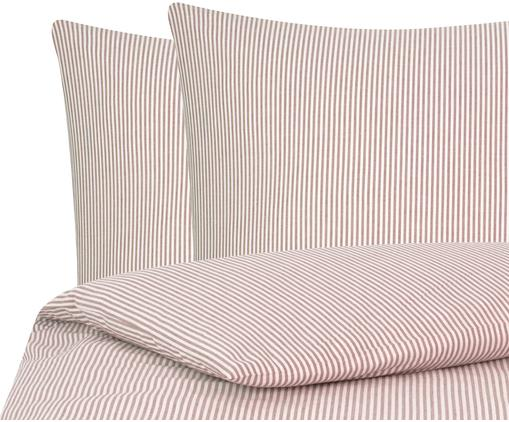 Parure copripiumino in cotone ranforce Ellie, Tessuto: Renforcé, Bianco, rosso, 200 x 200 cm
