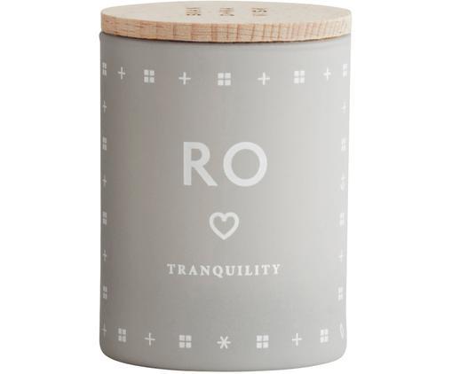 Vela perfumada Ro (hierba fresca), Recipiente: vidrio, Tapa: madera dehaya, Gris claro, Ø 4 x Al 6 cm