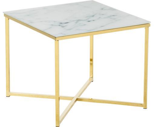 Beistelltisch Antigua mit marmorierter Glasplatte, Tischplatte: Glas, matt bedruckt, Gestell: Stahl, vermessingt, Weiß, Messing, 50 x 42 cm