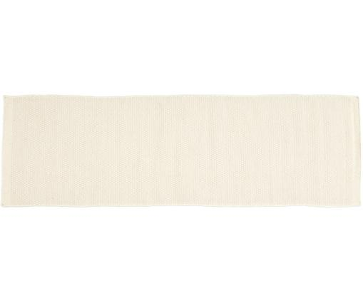 Handgewebter Wollläufer Delight in Wollweiß, Flor: 90% Wolle, 10% Baumwolle, Elfenbeinfarben, 80 x 250 cm